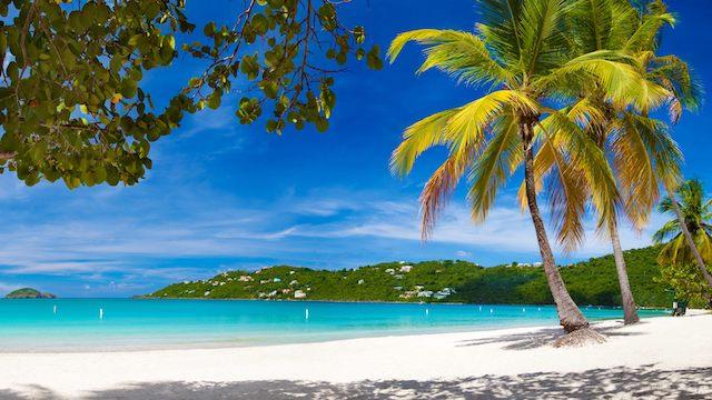 caribbean beach and hills