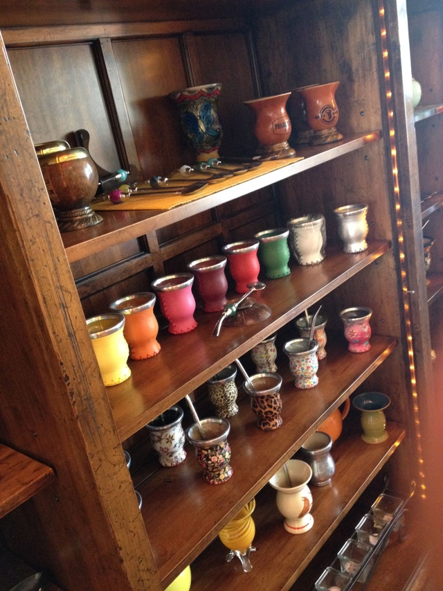 Wood and Ceramic Mate Cups on Display
