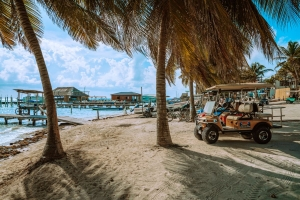 Golf carts parked near the tropical waters of Ambergris Caye